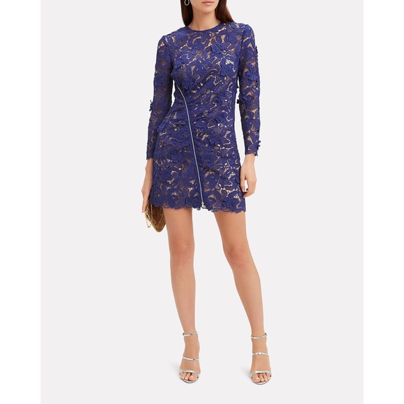 Self Portrait Guipure Blue Lace Mini Dress Nwt Nwt